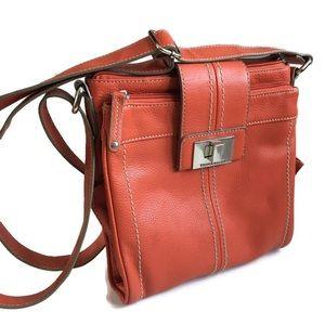 Tignanello Cross Body Leather Orange Bag Purse